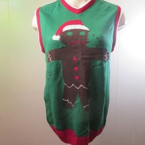 Mens Ugly Christmas Sweater Vest Gingerbread Man